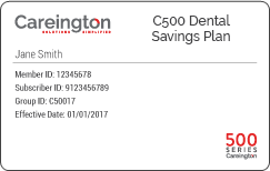 Careington 500 Dental Savings Plan Membership Card